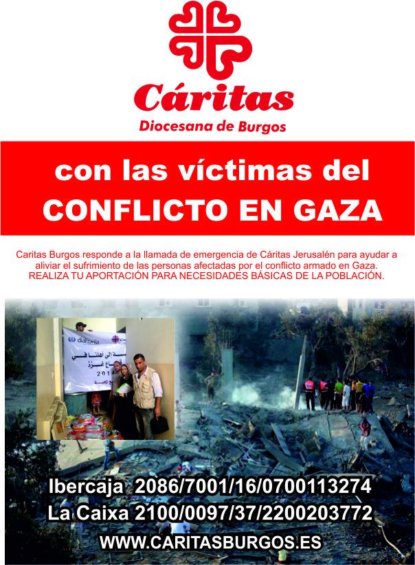 Cáritas Burgos pide colaboración para paliar el sufrimiento de las personas afectadas por el conflicto armado en Gaza.