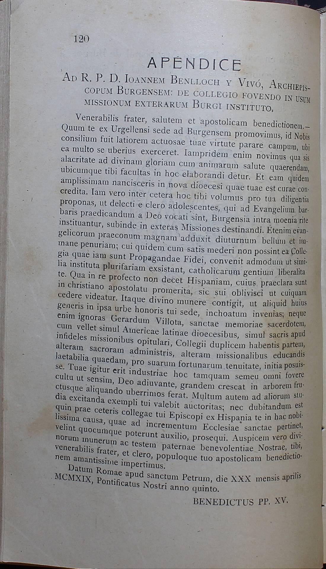 El texto de la carta, publicado en el Boletín Oficial del Arzobispado en abril de 1919.