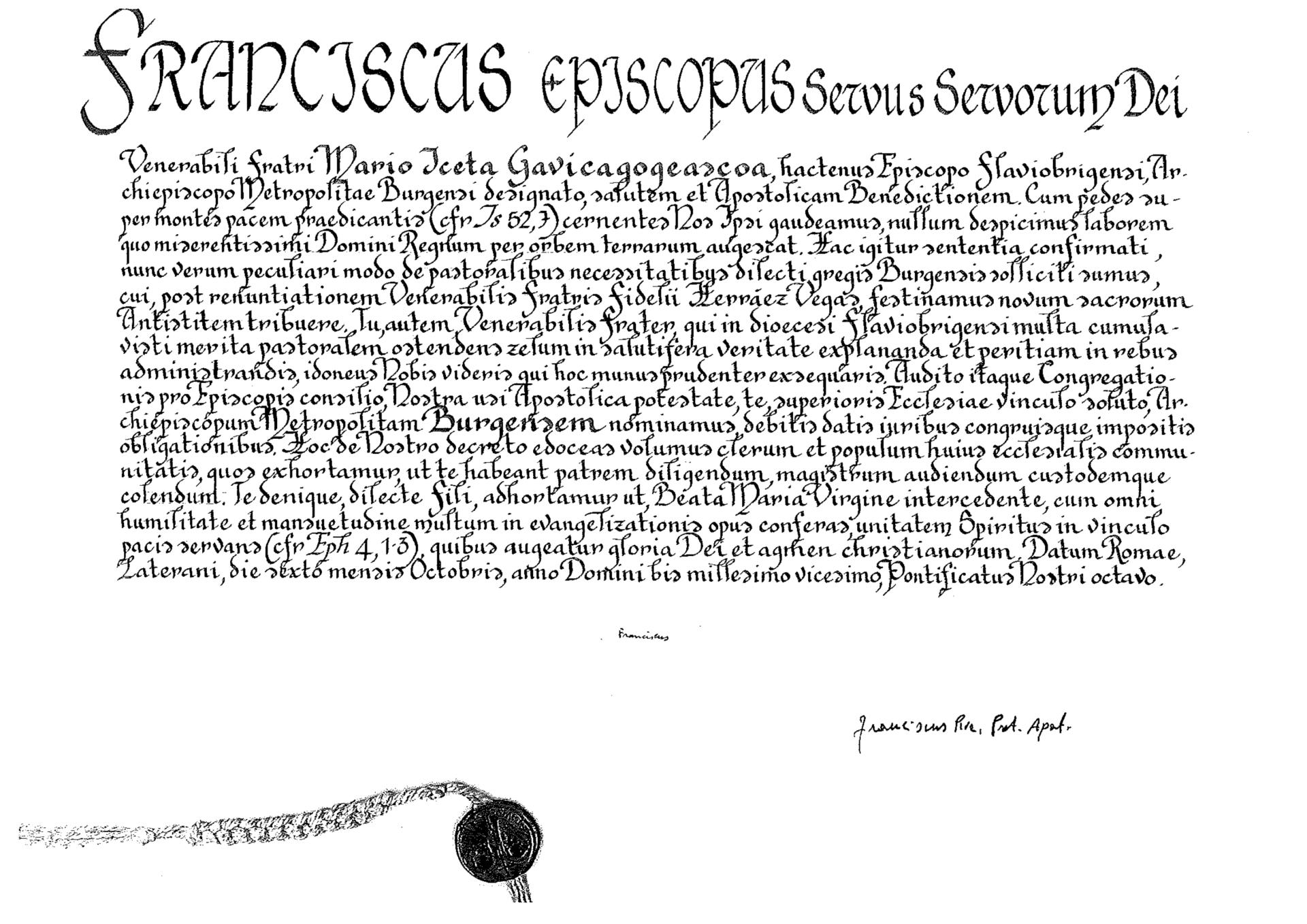 Las «letras apostólicas» con el nombramiento del nuevo arzobispo.